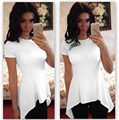 Blusa de las mujeres 2016 Nuevo de Las Mujeres Irregulares Hem O-cuello de Manga Corta Blusa Ocasional Blanco Slim Fit Peplum Casual Top Blusas CS002
