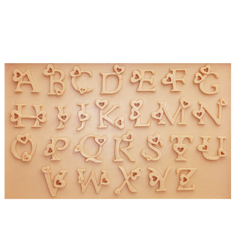M0737 Cake Decorating Loving Heart Letter Lace Shaped Fondant Silicone mould Cake Molding Sugar Art Tools