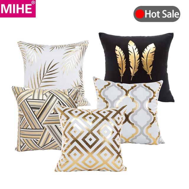MIHE Merry Christmas Cushion Cover Gold Linen Cotton Soft Cute Throw Pillow Cover Decorative Sofa Pillow Case Pillowcase BZT18
