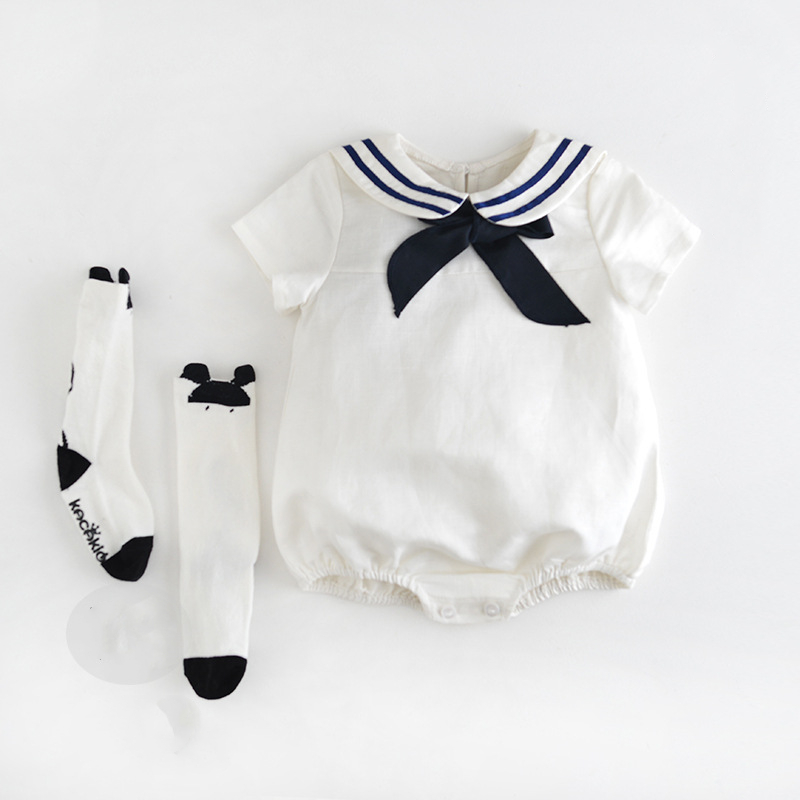 Baby Girls Navy Sailor White Clothes Lovely Bow Tie Collor Baby Polka Dot Pink   Rompers   Triangle Children Summer Climb Jumpsuits