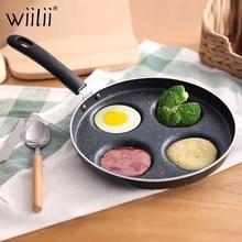 Четырехотверстие сковорода для омлета для яиц ветчины блинница сковороды Творческий антипригарный без масла-дыма для завтрака гриль сковорода