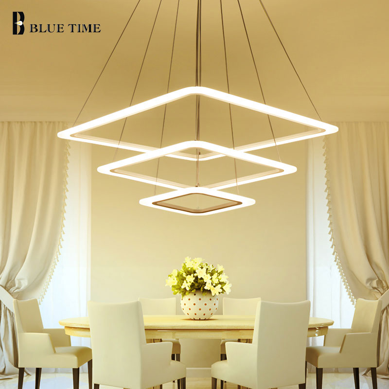 Square Rings Modern LED Chandelier For Living Dining Room Bedroom Lustres Acrylic Hanging Ceiling Chandelier Lighting luminaire modern crystal chandelier hanging lighting birdcage chandeliers light for living room bedroom dining room restaurant decoration