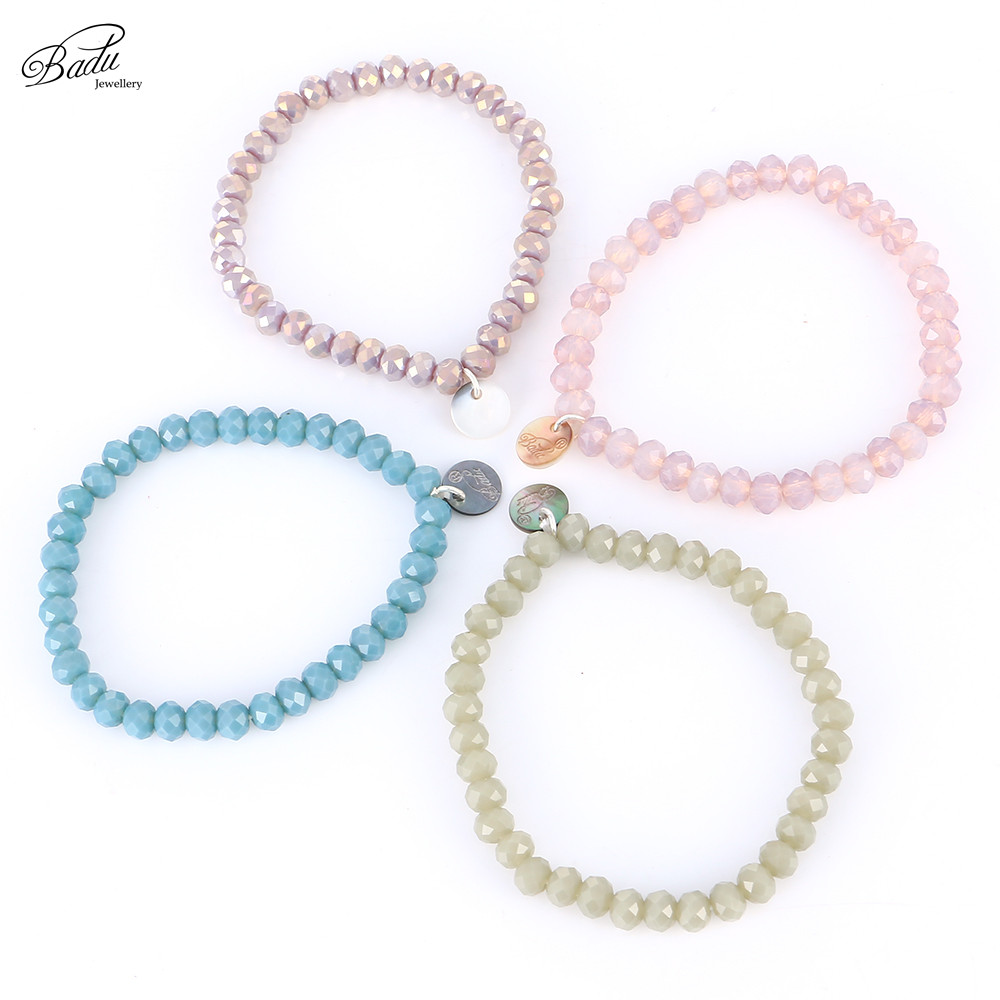Badu Faceted Crystal Beaded Bracelets for Women 5 mm Bead 11 Colors All Match Girls Bracelet Trendy Jewelry Gift for Best Friend 1