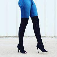 Moda negro tejido elástico sobre la rodilla botas sexy zapatos de punta abierta botas de tacón alto 2017 botas altas para la mujer tacones delgados botas