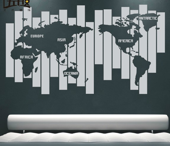 World map vinyl wall decal map of world creative map pvc wall world map vinyl wall decal map of world creative map pvc wall sticker living room bedroom gumiabroncs Gallery