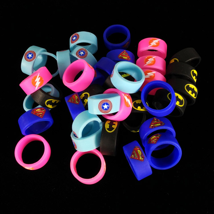 1000pcs/lot  newest decorative ring silicon band vape ring with super man Batman Captain America  Wholesale DHL Free Shipping