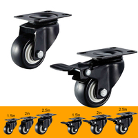 Universal Swivel Casters 1.5 2 2.5Wheels Black Roller Wheel with Brake For Furniture Trolley Chair Swivel Caster Wheel
