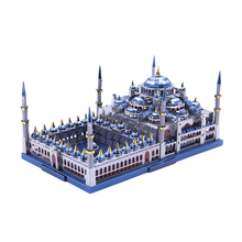 Microworld 3D Metal Puzzle Blue Mosque Architecture DIY Assembly Model Kit Muslim Crafts Home Decor Creative Adult Birthday Gift microworld 3d metal puzzle blue mosque building model diy laser cut jigsaw model gift for adult educational toys desktop decor