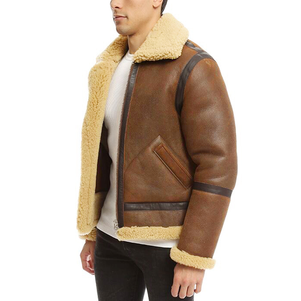dbbb30a72c3 Real Sheepskin Fur Flying Coat Genuine Sheep Shearling Jacket Male Winter  Flight Jacket Brown Men Fur Overcoat Extra Big Size-in Genuine Leather Coats  from ...
