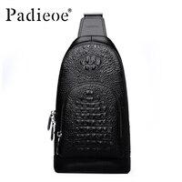 Padieoe New Arrival Mens Messenger Bags Famous Brand Crocodile Grain Genuine Leather Chest Bag Business Men