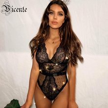 Vicente 2019 HOT Chic Lace Bodysuit Sexy Sheer Dot Mesh V-neck Sleeveless Wholesale Bodysuit(China)