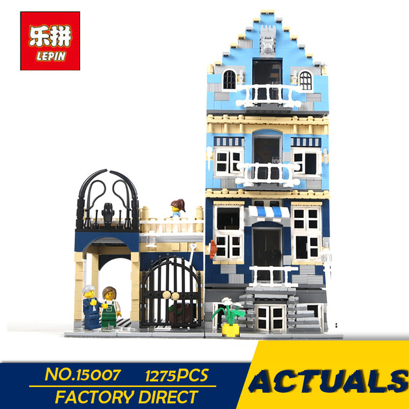 LEPIN 15007 1275pcs Factory City Street European Market Model Building Block Set Bricks Kits DIY Compatible with 10190 цена