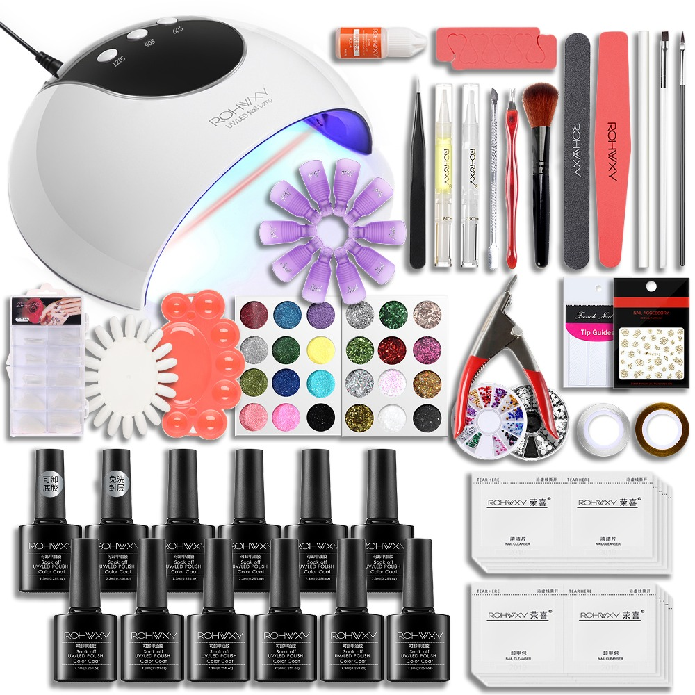 Rohwxy Nail Art Set Professional Manicure Tools Kits With Uv Led