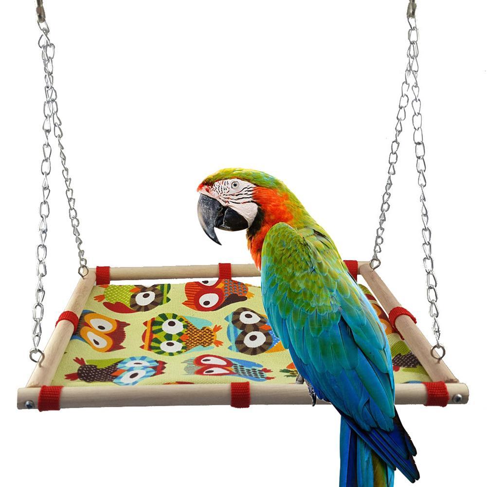 Zelfbewust 1 St Papegaai Swing Opknoping Bed Houten Frame Cartoon Uil Print Canvas Huisdier Vogel Speelgoed