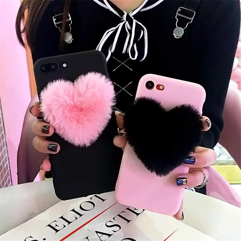 4102fc45b3 ... TIKITAKA Cute 3D Love Heart Warm Plush Phone Case For iphone XR Lovely  Couples Case For