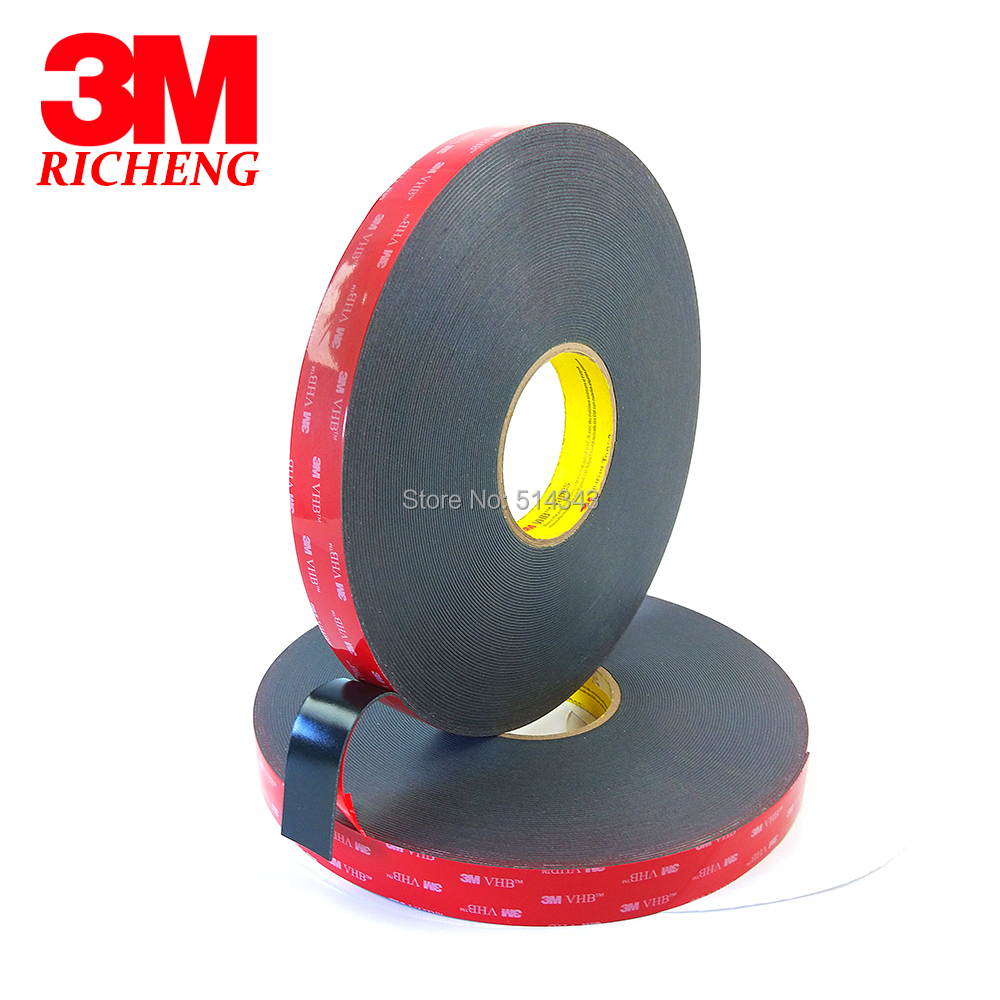 1Roll/Lot 3M VHB 5952 Heavy Duty Double Sided Adhesive Acrylic Foam Tape Black 20MMx33Mx1.1MM 1piece 3m vhb 5952 heavy duty double sided adhesive acrylic foam tape black 150mmx100mmx1 1mm