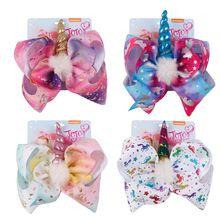 8 inch handmade fashion new plush unicorn bow hairpin children hair accessories holiday gifts