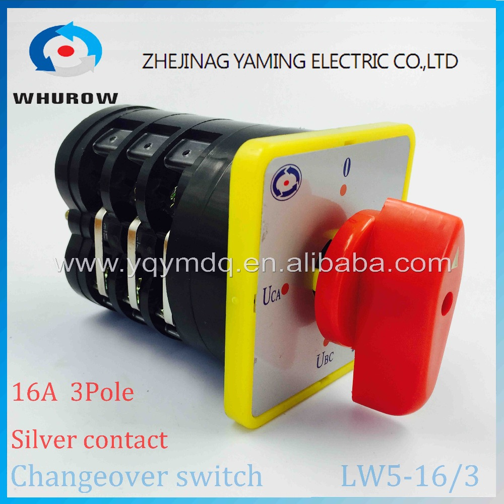 Rotary switch 4 postion 550V 16A 3 poles red dot LW5-16/3 voltage convert main universal changeover cam switch silver contact
