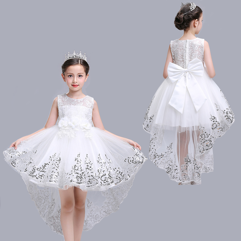 Flower Sequins Princess Toddler girls Dresses summer Halloween Party white Girl Dress kids dresses for Girls Clothes Wedding 100% cotton girl dress flower print 2 color layered princess dresses for party wedding girls summer dress 1 6t