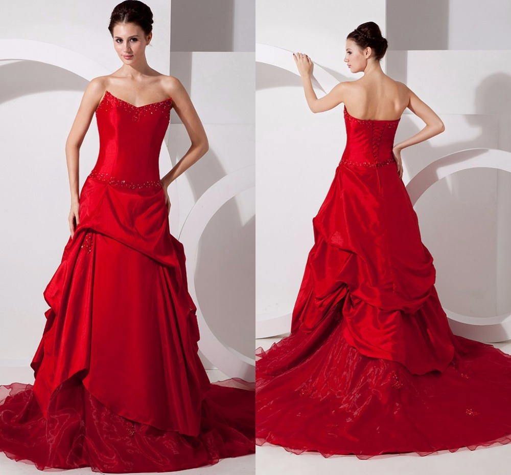 Non Traditional Red Wedding Dresses: Vintage Red A Line Colorful Wedding Dresses 2016