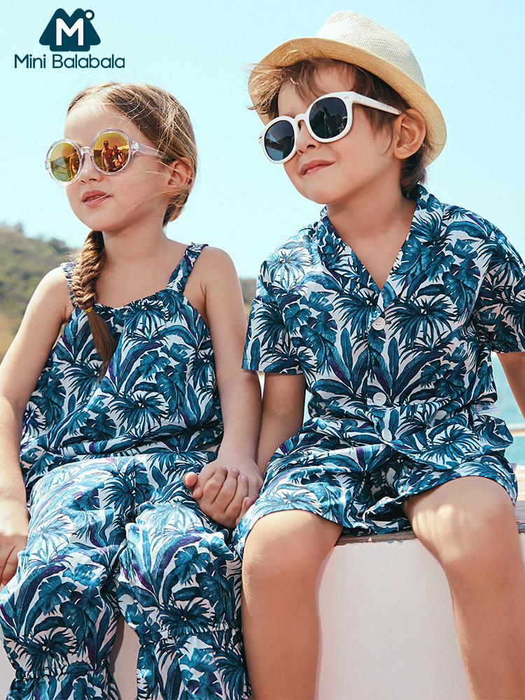 Mini balabalaGirls Sling Set 2019 Summer New Children Lantern Pants Holiday Thin Two piece Clothing Sets
