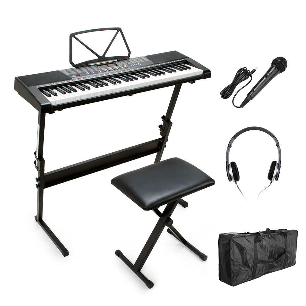 <font><b>Electronic</b></font> Piano Keyboard Digital 61 Keys Lighting LCD Display with Music Stand Screen, Stand, Bench, Microphone, Headphone