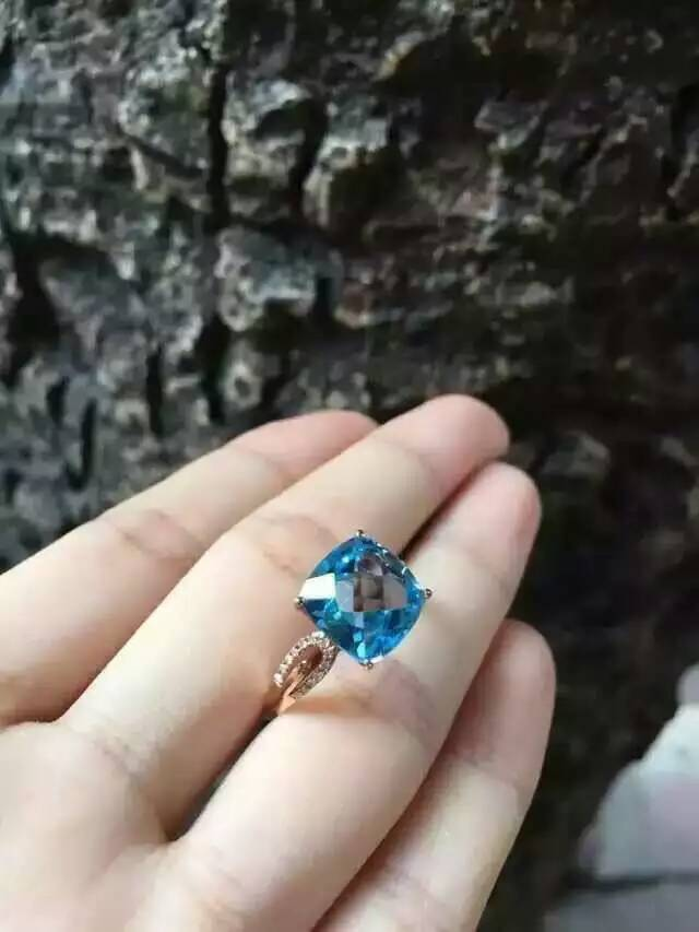 Natürliche blaue topas stein Natürlichen edelstein ring S925 sterling silber trendy Eleganten platz frauen party geschenk edlen Schmuck-in Ringe aus Schmuck und Accessoires bei  Gruppe 3