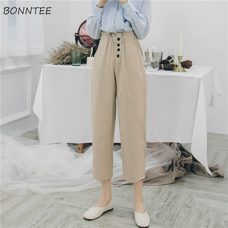 Pants Women School High Waist Single Breasted Elegant Pant Chic Womens Elastic All-match Solid Straight Capris Female New Casual