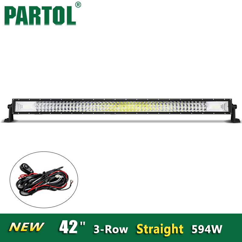 Partol New 42 inch 594W 3-Row Straight LED Light Bar Offroad 4x4 ATVs,SUV,truck Spot & Flood Combo Beam 12V/24V vehicle 6000K partol 31 330w 5d led light bar spot flood combo beam car work light bars driving lamp 4x4 offroad 4wd 12v atv suv