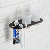 AUSWIND Bathroom Soap Dish For Bathroom With Toothbrush Holder For Multi Use Black Modern Bathroom Accessories