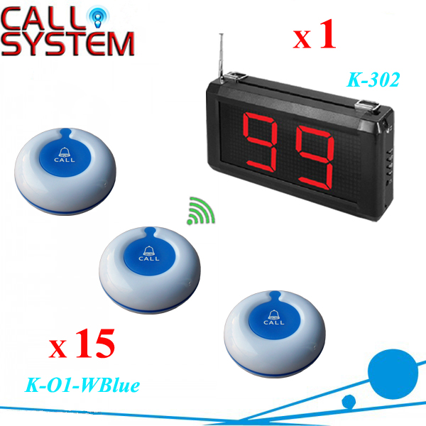 1 set Electronic table order buzzer service 15pcs with 1 wall receiver show 2 digits number