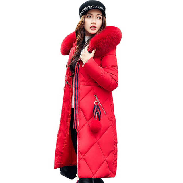 Big fur winter coat thickened parka women stitching slim long winter coat down cotton ladies down parka down jacket women 2017 2