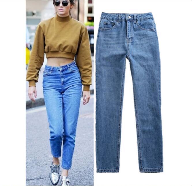Vintage High Waist Jeans Trousers Female Blue Color Regular Straight Denim Cotton Casual Jeans Long Pants