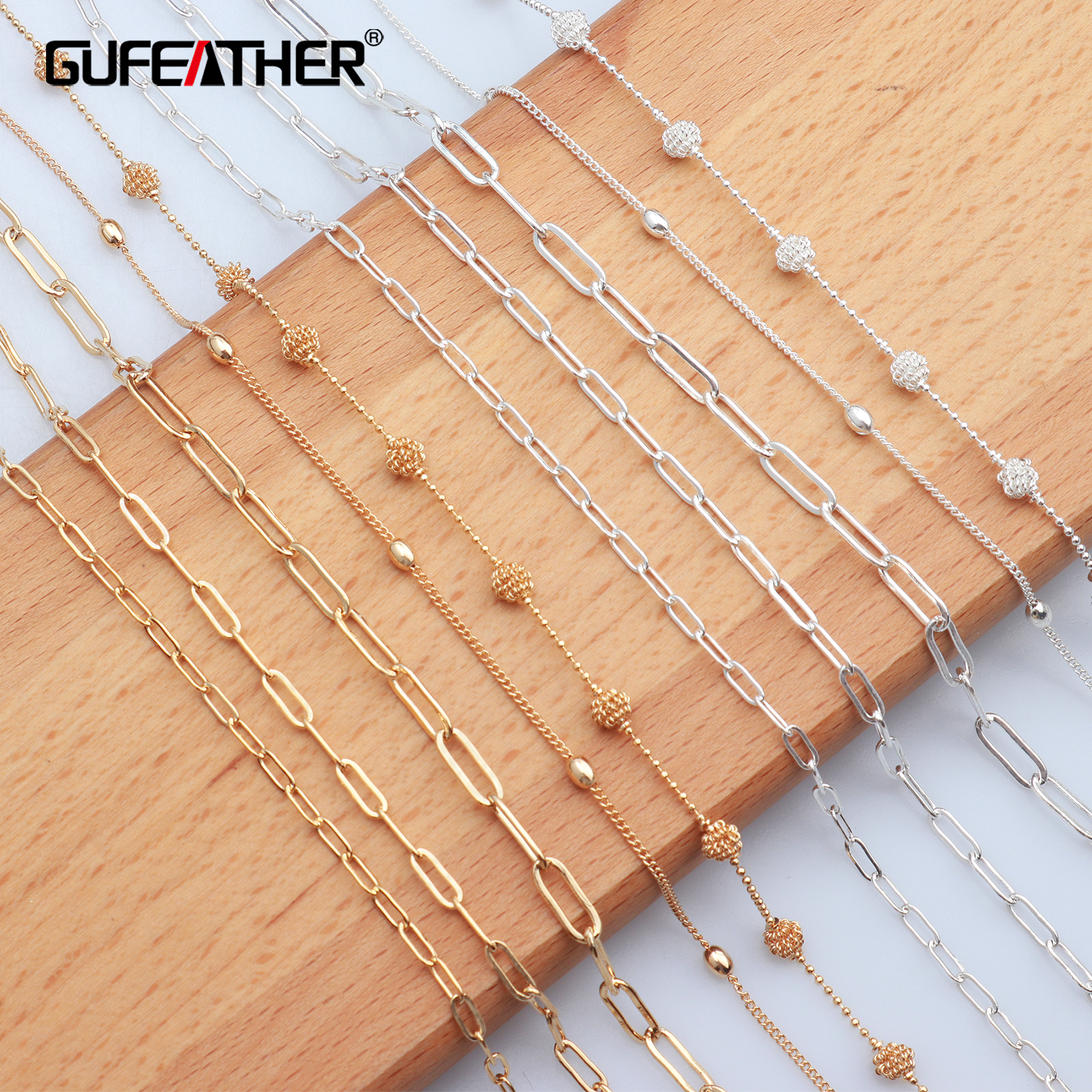 GUFEATHER C35,jewelry Making,silver Gold Chains,necklace For Women,diy Jewelry,copper Metal,charms,jewelry Findings,3m/lot
