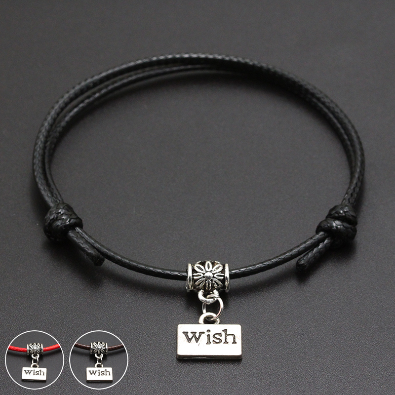 2020 New Best Wish for You Pendant Red Thread String Bracelet Lucky Black Coffee Handmade Rope Bracelet for Women Men Jewelry