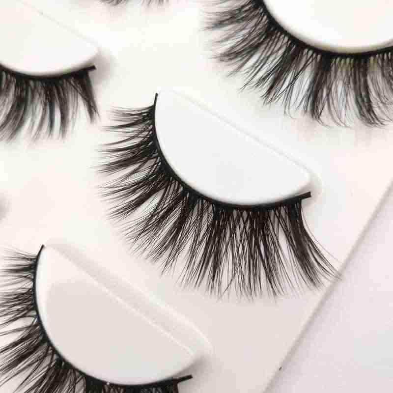 Buzzme H05 3 Pairs makeup false eyelashes natural thick 100% real 3d mink lashes fur strip fake eye lashes mink eyelashes