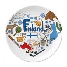 Десертная Тарелка с национальным флагом Финляндии love heart