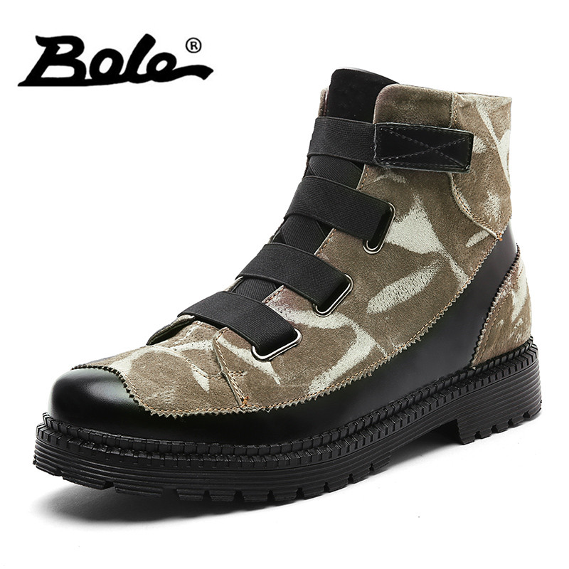 BOLE Handmade Leather Men Snow Boots Fashion Designer Lace Up Men Ankle Boots Keep Warm Men Casual Shoes Winter Flats Men Boots xiaguocai new arrival real leather casual shoes men boots with fur warm men winter shoes fashion lace up flats ankle boots h599