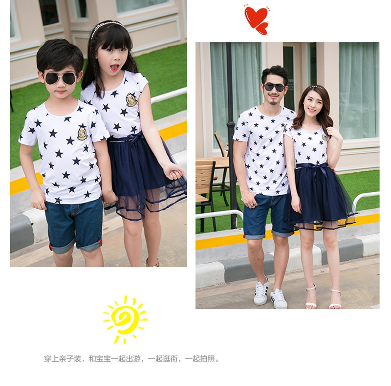 HTB1ma4xaijrK1RjSsplq6xHmVXaY - Summer Cotton Family Matching Outfits Mom And Daughter Mesh Dress Dad Son Blue White Stars Short T-shirt Children Clothing