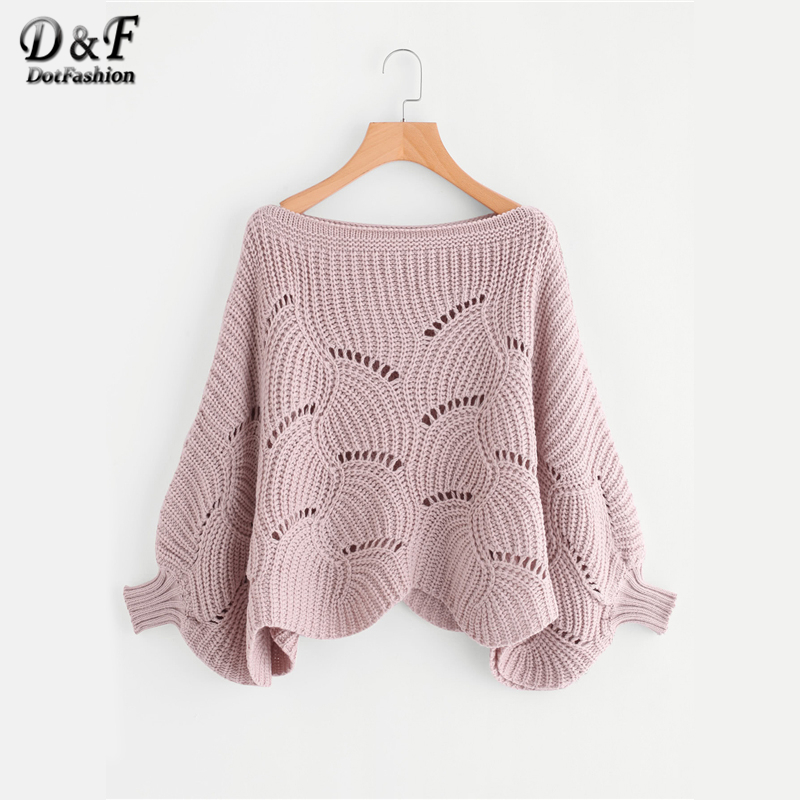 Dotfashion Batwing Sleeve Loose Knit Scalloped Dolman Sweater Women Pink Boat Neck Pullovers 2019 Spring Fall Vacation Plain Top