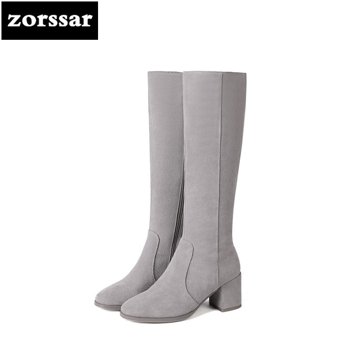 {Zorssar} 2019 New Fashion Female Snow boots Winter Plush Thigh High Boots Suede Leather Thick heel Women Over The Knee boots zorssar 2019 new winter fur female snow boots fashion knee high boots suede leather women over the knee boots high heels