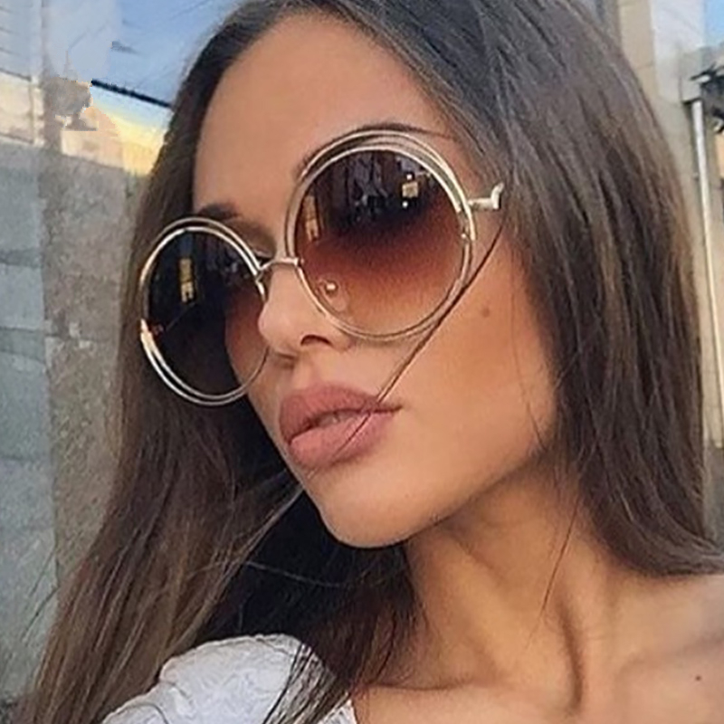 Luxury Round Sunglasses Women Brand Designer 2019 Vintage Retro Oversized Sunglass Female Sun Glasses For Women Sunglass Mirror