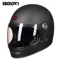 BEON Helmet Full Carbon Fiber Motocross Helmet Vintage Motorcycle Professional Helmets Retro Ultralight ECE Headgear B 510