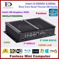 Fanless Barebone Mini PC Core I3 5005U Dual Core Intel HD Graphics 5500 HDMI 2 COM