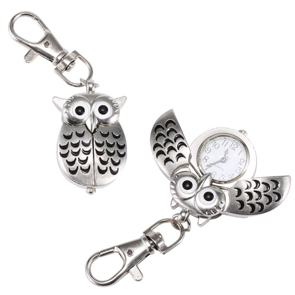 Fashion Unisex Keychain Pocket Watch Metal Alloy Vintage Owl Shape Fob Watches Clock  Bag Car Birthday Gifts LL@17