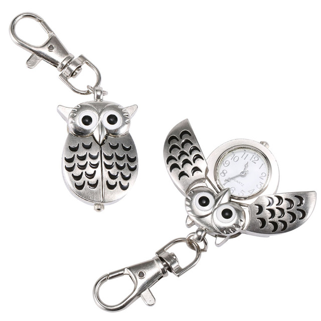 Fashion Unisex Keychain Pocket Watch Metal Alloy Vintage Owl Shape Fob Watches C