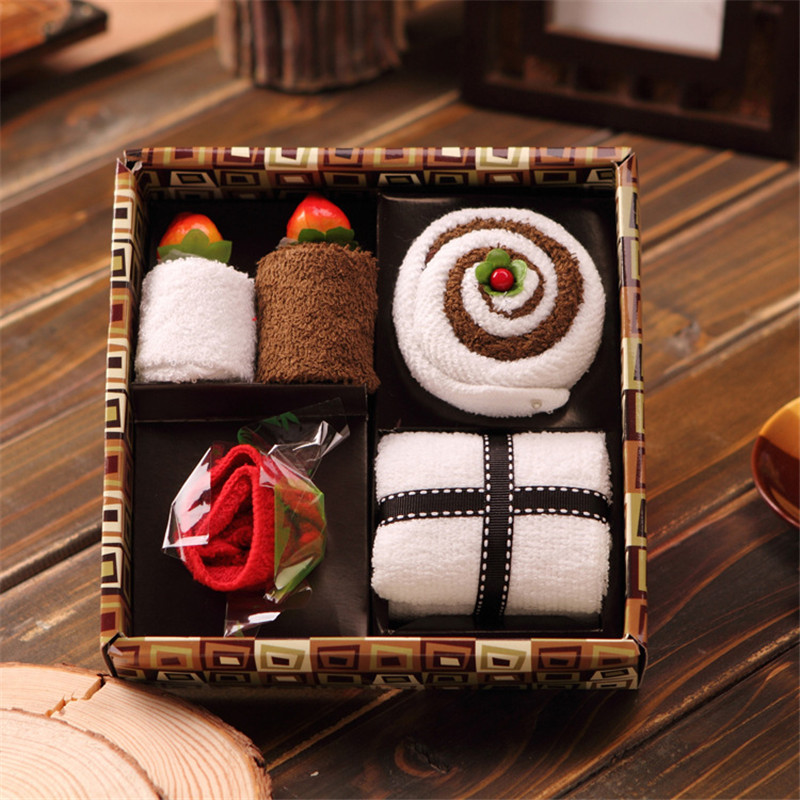6PCS set Creative Cotton Towel Gift Box Hand Towel Face