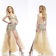 Sexy A-line V-ausschnitt Bodenlangen Tüll Spaghetti Strap Abendkleid Lange Backless Split Abend Formale Kleid Kristall F712