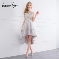 Lover Kiss Sparkle Crystal Beaded High Low Prom Dress 2018 Silver Gala Celebrity Pageant Gowns Sexy