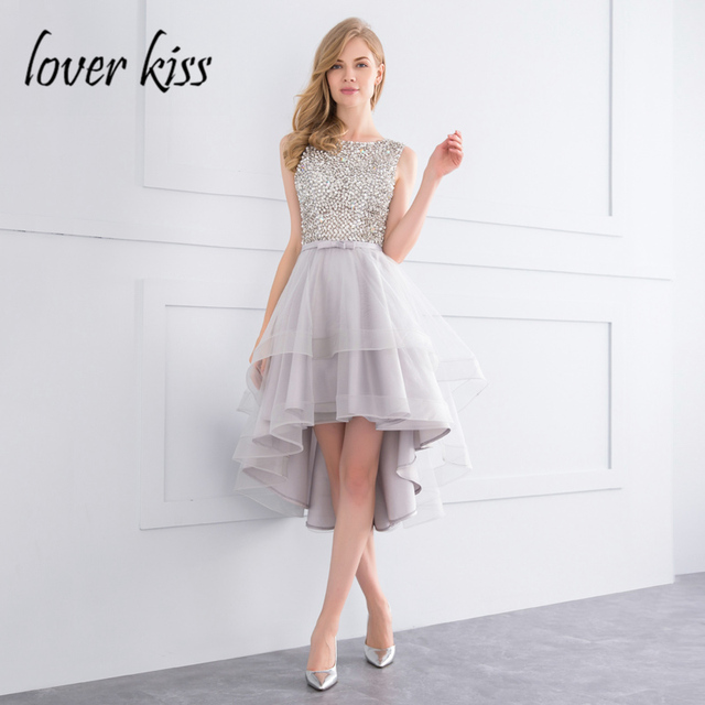 Lover Kiss Sparkle Crystal Beaded High Low Prom Dress 2018 Silver ...